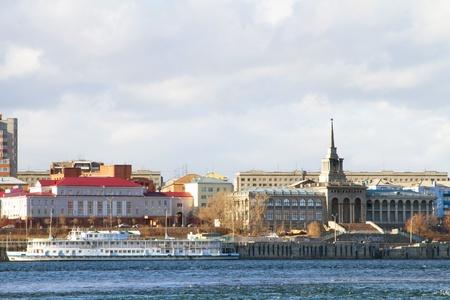 Embankment of the river Yenisei in Krasnoyarsk with river station and passenger ships