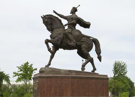 Tamerlane monument in the main square of Tashkent Stock Photo