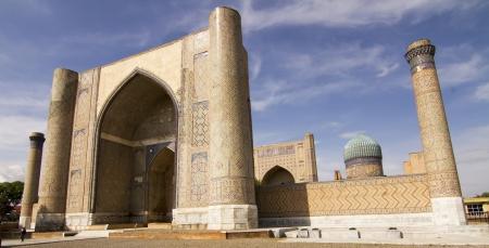 Madrassah near the central bazaar in Samarkand, Uzbekistan Stock Photo