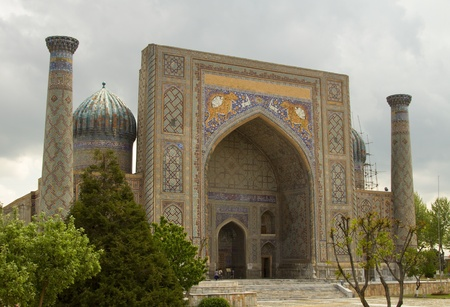 Ulugbek Madrasah on Registan Square in Samarkand, Uzbekistan
