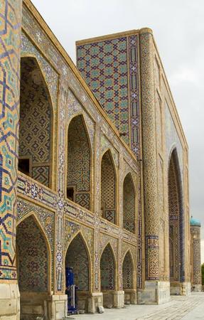 Detail of a wall of Madrassah Tillya Kori in Samarkand, Uzbekistan Stock Photo