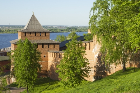 The walls and towers of the Novgorod Kremlin in sunny weather photo