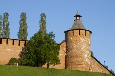 The walls and towers of the Novgorod Kremlin in sunny weather