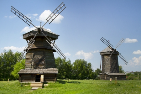 Old wooden windmill in Suzdal, Russia Stock Photo