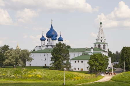 View of the Cathedral of the Nativity of the Virgin and the bell tower in the Suzdal Kremlin