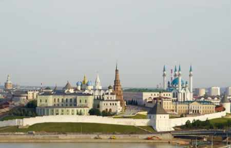 View of the city of Kazan from the Ferris wheel at an amusement park