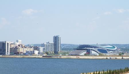 Vista del barrio moderno y el estadio de f�tbol en Kazan