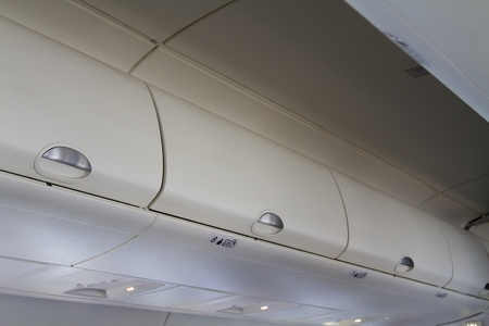 Overhead bins in the aircraft cabin