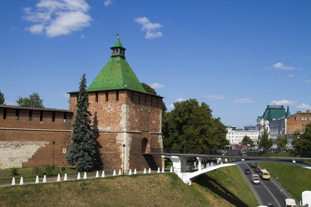 The  towers of the Novgorod Kremlin in sunny weather photo