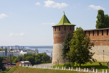 The  towers of the Novgorod Kremlin in sunny weather