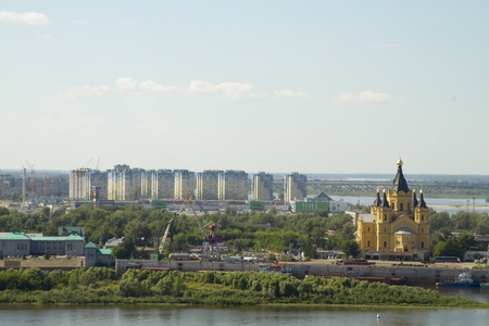 oka: View of the city of Nizhny Novgorod from a high bank