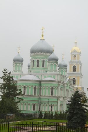Svyato-Troitskiy Serafimo-Diveevskiy monastery in the mist photo