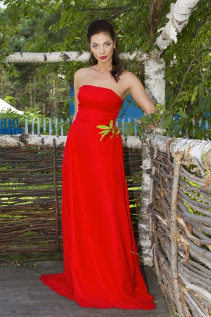 Slender pretty girl in red dress photo