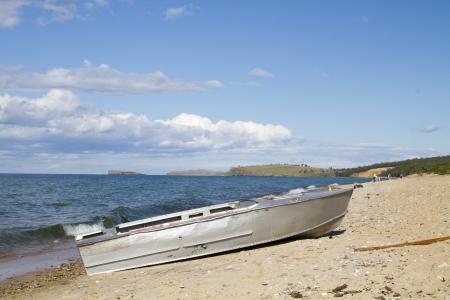 Boat on the shore of Lake Baikal