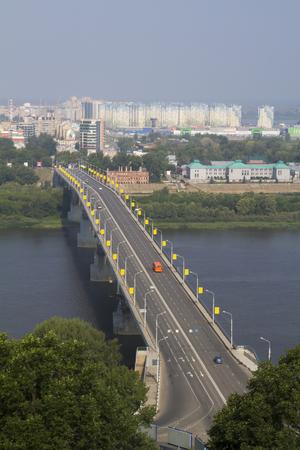 oka: View of the bridge across the Oka River in Nizhny Novgorod
