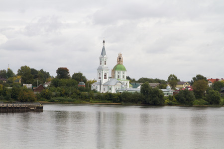 Orthodox Cathedral on the banks of the river Tvertsa in the city of Tver  photo
