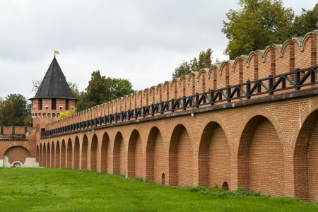 Brick wall and guard tower of the Tula Kremlin photo