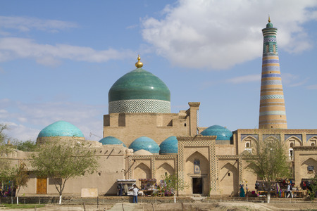 Bazaar at the walls of the architectural ensemble of Islam Khoja Stock Photo