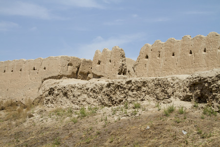 pise: The wall of the fortress in the old city of Khiva, Uzbekistan Editorial