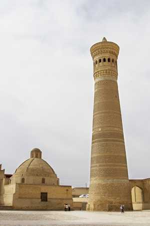 Near the famous minaret of a mosque in Bukhara, Uzbekistan Stock Photo