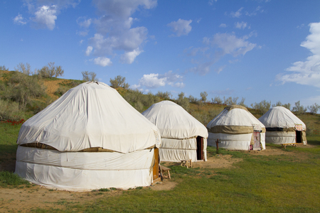 Kazakh yurt in the Kyzylkum desert in Uzbekistan photo