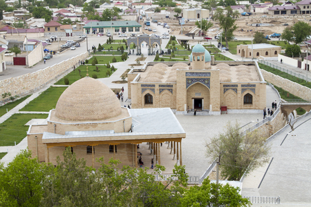 pise: View from the hill on a mosque and a small Uzbek city