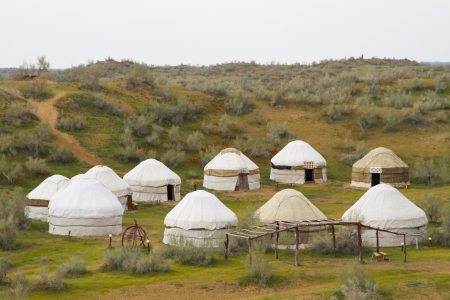 Kazakh yurt in the Kyzylkum desert in Uzbekistan Stock Photo