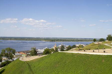 the volga river: Views of the tiered promenade in the city of Nizhny Novgorod