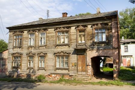 dilapidated: Wooden dilapidated house in Nizhny Novgorod Stock Photo