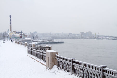 cast in place: Embankment of the Angara River in Irkutsk Stock Photo