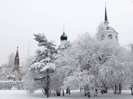 Winter alley in park and an Orthodox church spire photo