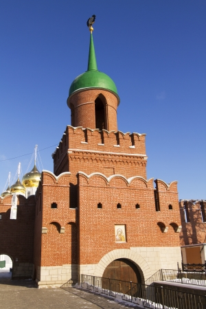 High brick wall and Kazanskaya Tower in the Tula Kremlin Stock Photo