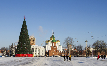 central square: Christmas tree in the central square of the city of Tula