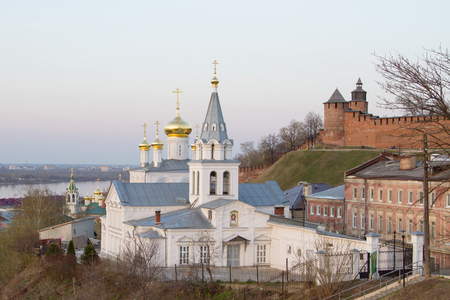 Church of St  Elijah the prophet of God and the view of Nizhny Novgorod Kremlin photo