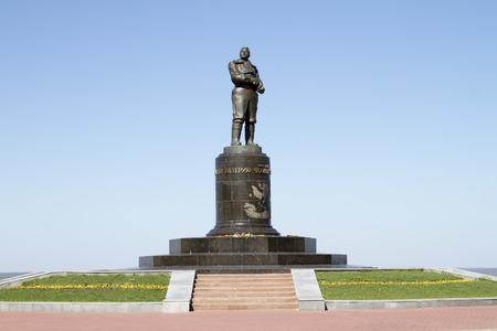 nizhny novgorod: NIZHNY NOVGOROD, RUSSIA - MAY 09  Chkalov monument on the main square in Nizhny Novgorod on May 9, 2014 in Nizhny Novgorod  Editorial