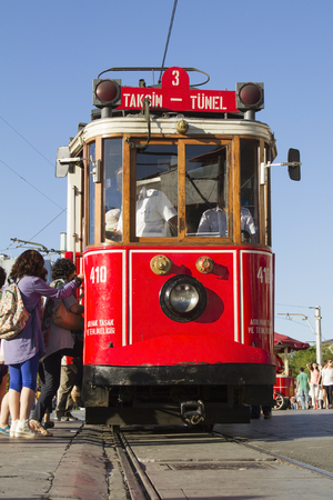 Tourists landing exercise in walking tram in Istanbul