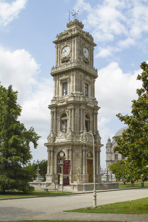 ISTANBUL - JULY 4  Clock Tower on the territory of the Dolmabahce Palace on July 4, 2014 in Istanbul