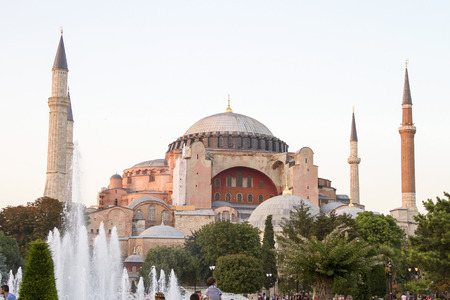 View of the Hagia Sophia from the Blue Mosque in Istanbul