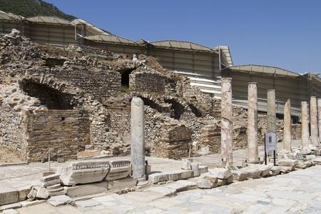 Las ruinas de la antigua ciudad de �feso, que se encuentra en el territorio de la Turqu�a moderna Foto de archivo