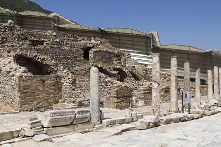 The ruins of the ancient city of Ephesus, located on the territory of modern Turkey Stock Photo