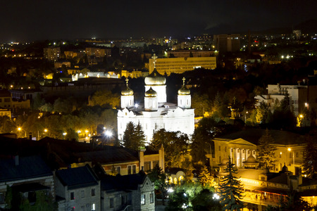 spassky: Night view of Pyatigorsk and Spassky Cathedral