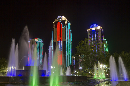 Buildings in the district of Grozny City with night illumination