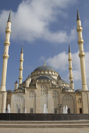 martial law: Main mosque of the Chechen Republic - Heart of Chechnya Stock Photo