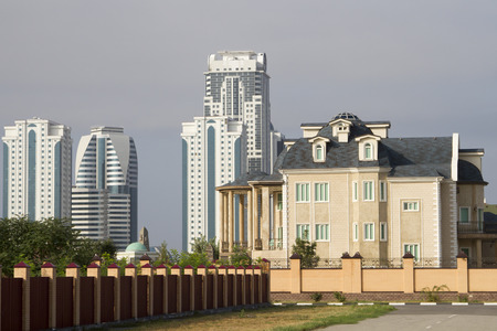 Cottage and modern buildings Grozny City 版權商用圖片