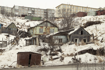 pioneers: MAGADAN, RUSSIA - DECEMBER 22: Old Soviet barracks on the shores of the Sea of Okhotsk in Magadan on December 22, 2014 in Magadan.