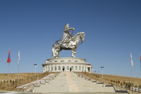 TSONZHIYN BOLDOG, MONGOLIA - FEBRUARY 2: Monument to Genghis Khan in the Mongolian steppe near Ulaanbaatar on February 2, 2015 in Tsonzhiyn Boldog.