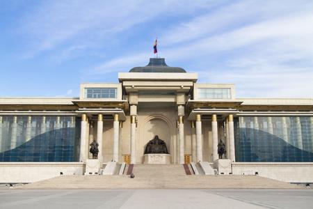 ULAANBAATAR, MONGOLIA - FEBRUARY 1: Government House on Sukhbaatar Square on February 1, 2015 in Ulaanbaatar.