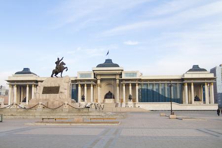 Ul�n Bator, Mongolia - 1 de febrero: Casa de Gobierno en la Plaza Sukhbaatar el 1 de febrero de 2015, de Ul�n Bator.
