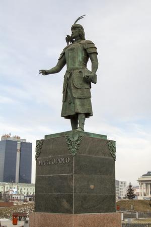 descubridor: Monumento Marco Polo en Ulan Bator, Mongolia