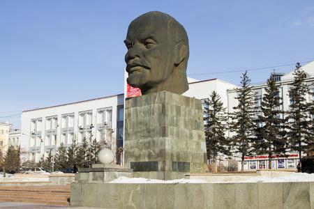 Ulan-Ude, Rusia - 04 de febrero: cabeza grande - Monumento a Vladimir Lenin en Fevruary 4, 2015 en Ulan-Ude.